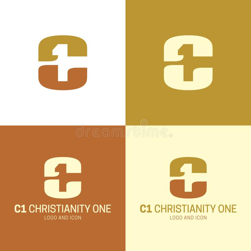 C1 Christianity One Logo and Icon. Vector Illustration. royalty free stock images