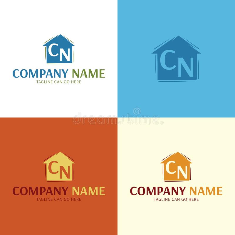 Artistic House Logo and Icon. Vector Illustration. stock illustration