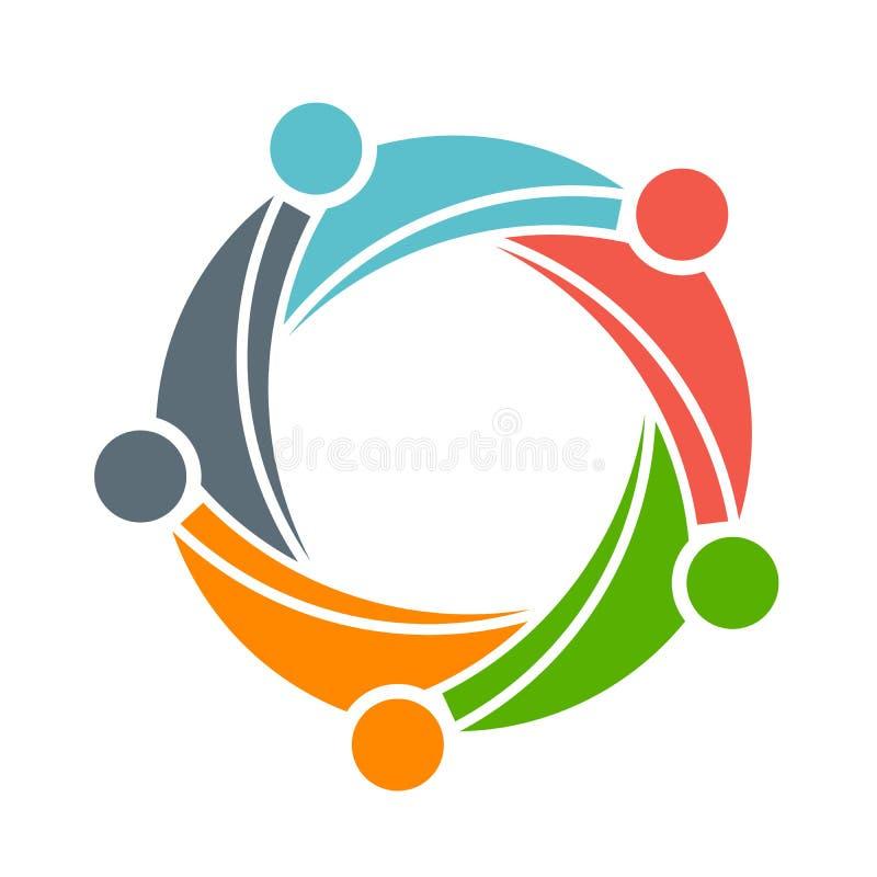 Logo felice del gruppo della gente del gruppo 5 della famiglia illustrazione di stock