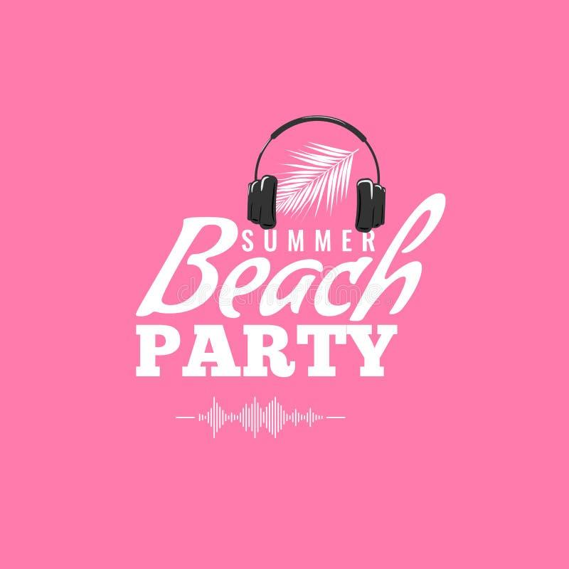 Logo felice del partito di estate con l'icona dell'onda sonora e della cuffia Manifesto di concerto del DJ Illustrazione di vetto royalty illustrazione gratis