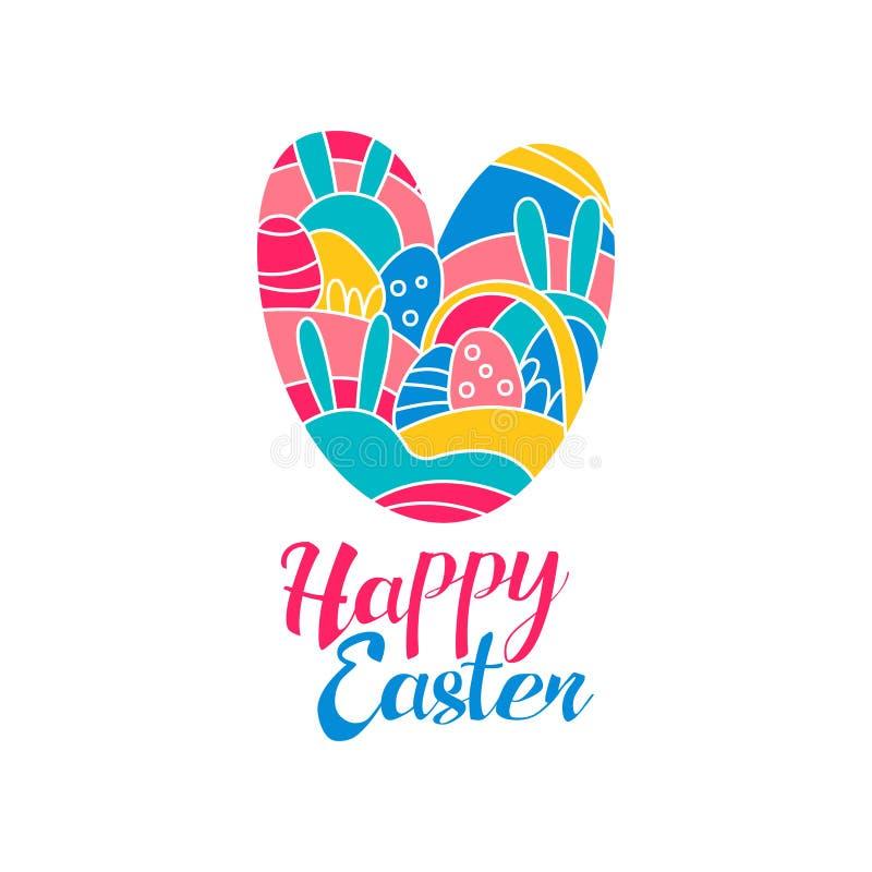 Logo felice di giorno di Pasqua, modello creativo con cuore per la cartolina d'auguri, invito, manifesto, insegna, vettore di pro royalty illustrazione gratis