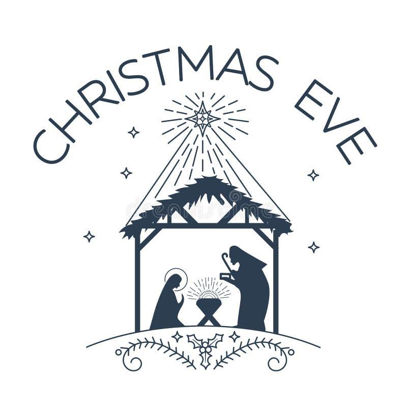 Logo felice di notte di Natale illustrazione vettoriale