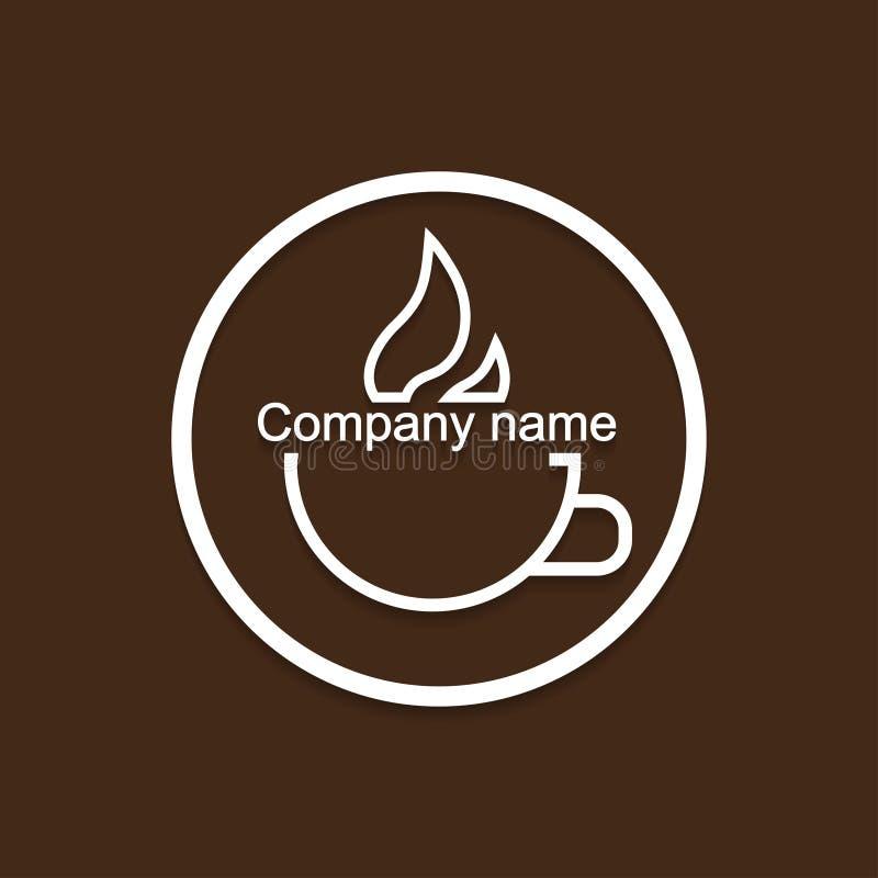 Logo filiżanka gorący napój z cieniem royalty ilustracja