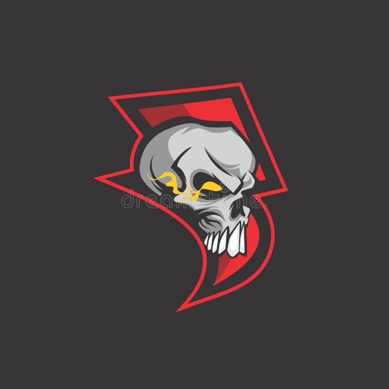 Logo final de crâne de tonnerre illustration de vecteur
