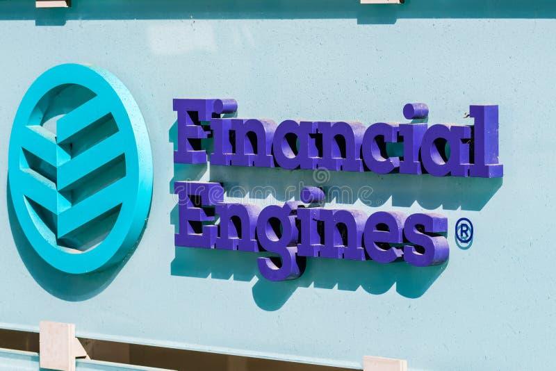 Logo financier de moteurs devant les leurs bureaux photographie stock