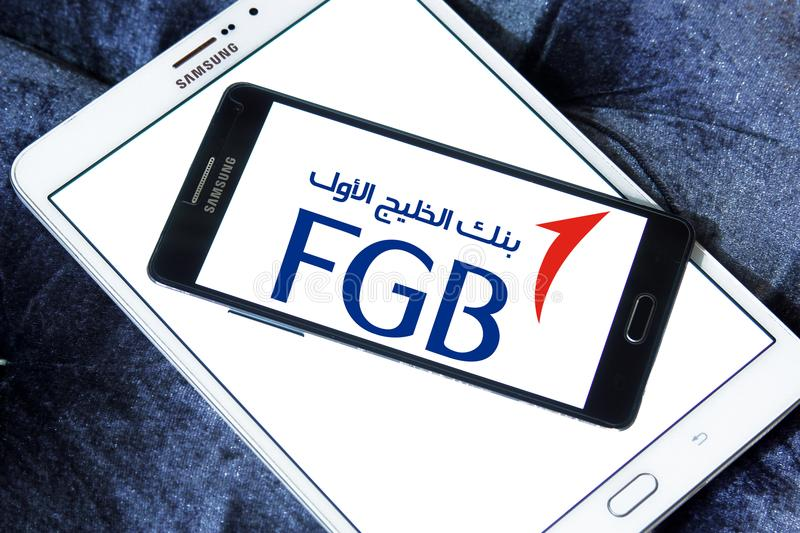 First Gulf Bank, FGB, logo. Logo of First Gulf Bank on samsung mobile. First Gulf Bank is the third largest bank by assets in the United Arab Emirates royalty free stock images