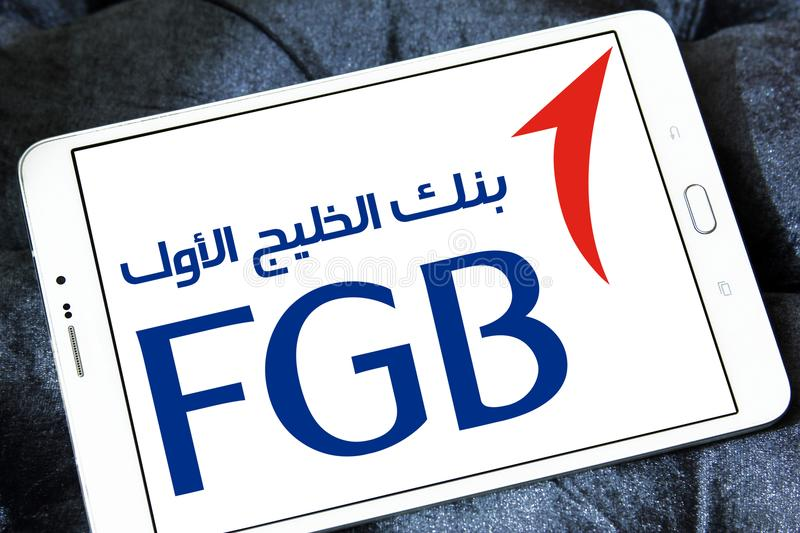 First Gulf Bank, FGB, logo. Logo of First Gulf Bank on samsung tablet. First Gulf Bank is the third largest bank by assets in the United Arab Emirates stock photos