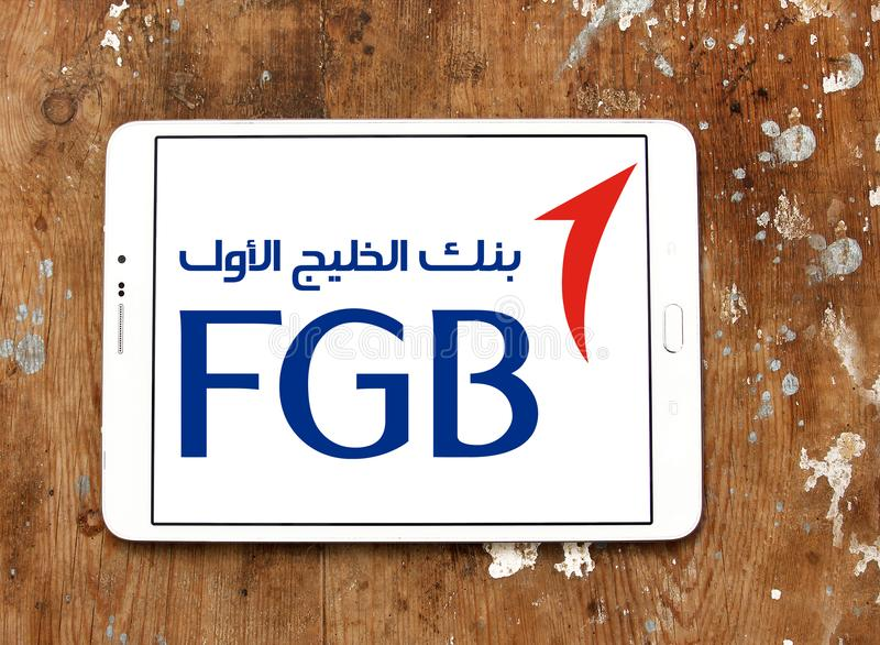 First Gulf Bank, FGB, logo. Logo of First Gulf Bank on samsung tablet. First Gulf Bank is the third largest bank by assets in the United Arab Emirates stock image