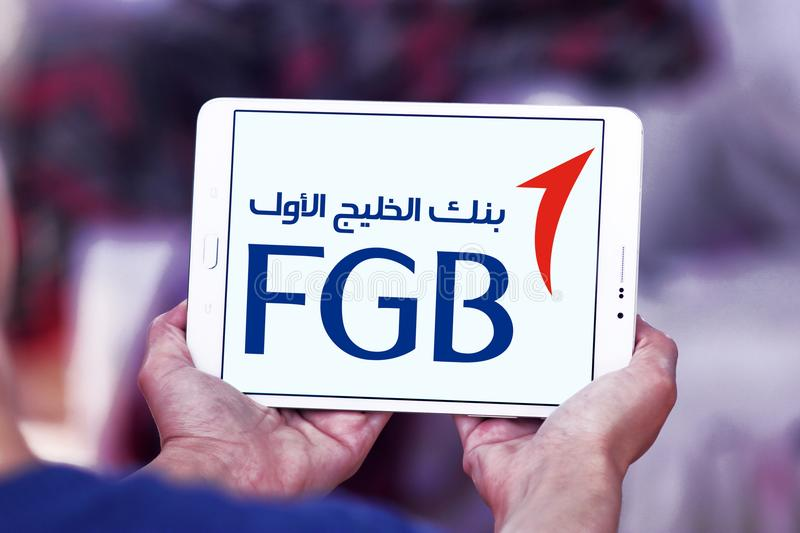 First Gulf Bank, FGB, logo. Logo of First Gulf Bank on samsung tablet. First Gulf Bank is the third largest bank by assets in the United Arab Emirates stock images
