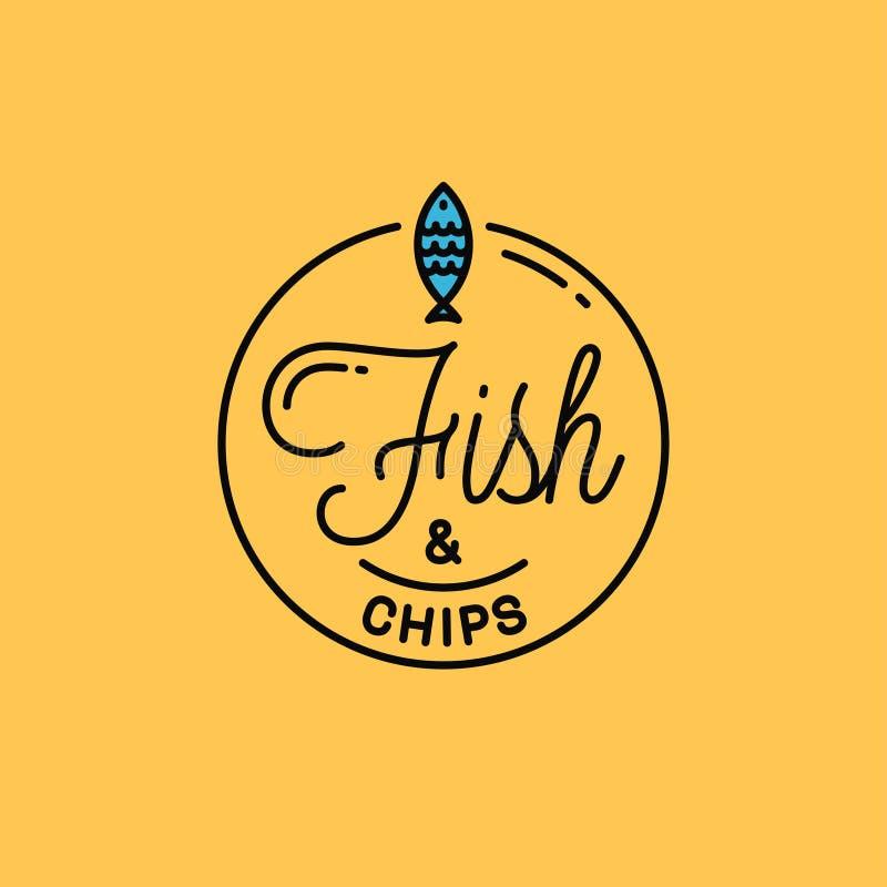 Logo Fish and chips Okrągłe liniowe logo ryb ilustracji