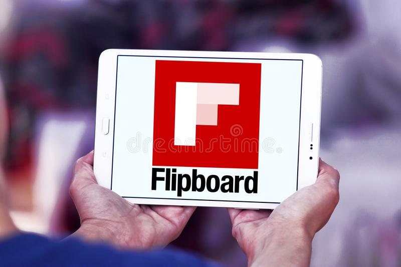 Flipboard logo. Logo of Flipboard on samsung tablet. Flipboard is a news aggregation and social network aggregation company. It aggregates content from social stock images