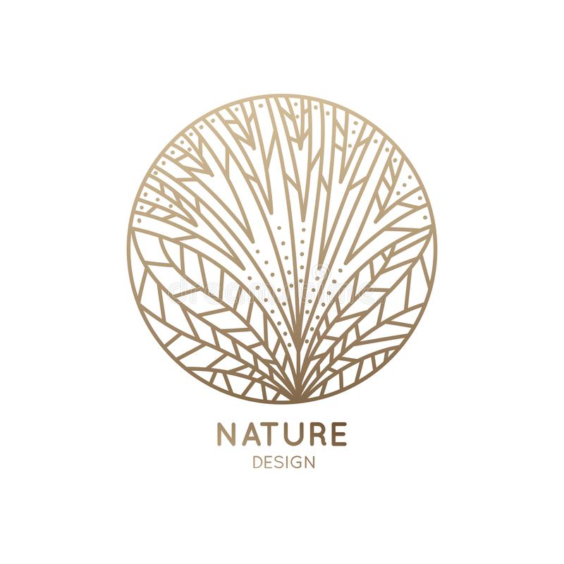 Logo flower with line petals. Herbal logo of floral element. Abstract round flower. Linear emblem for design of natural products, flower shop, cosmetics and vector illustration
