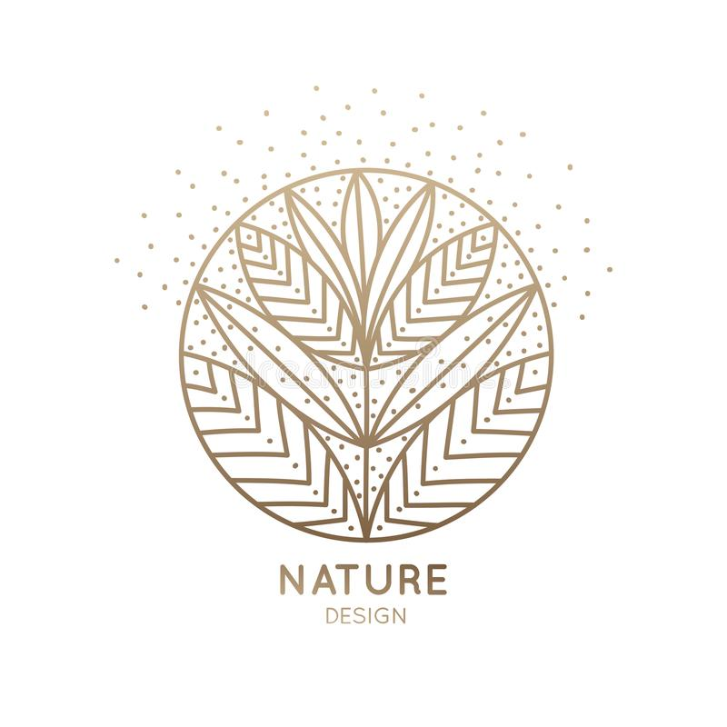 Logo flower nine petals. Herbal logo of floral element. Abstract round blossoming flower with petals. Linear emblem for design of natural products, flower shop royalty free illustration