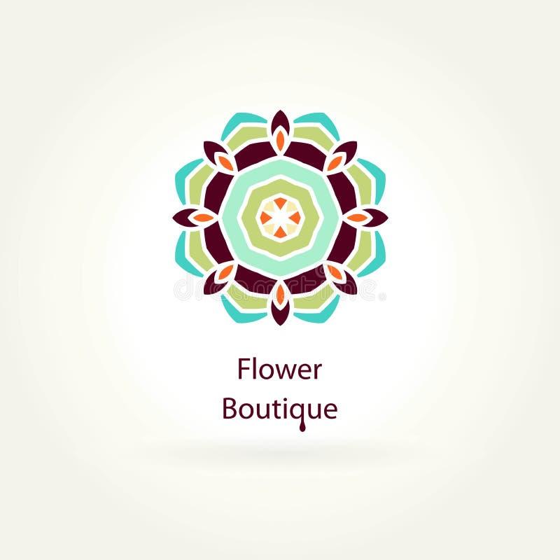 Logo for flower shop, organic products. Flower Boutique. Mandala logotype. Icon. stock illustration