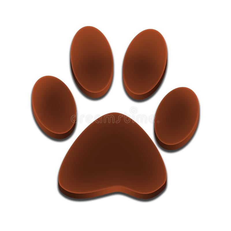 Logo footprint of dog 3d brown color stock photo