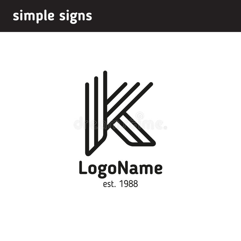 Logo in Form eines Buchstaben k lizenzfreie abbildung