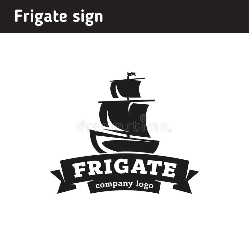 Logo in the form of a frigate, in retro style. In a frame and with ribbons royalty free illustration