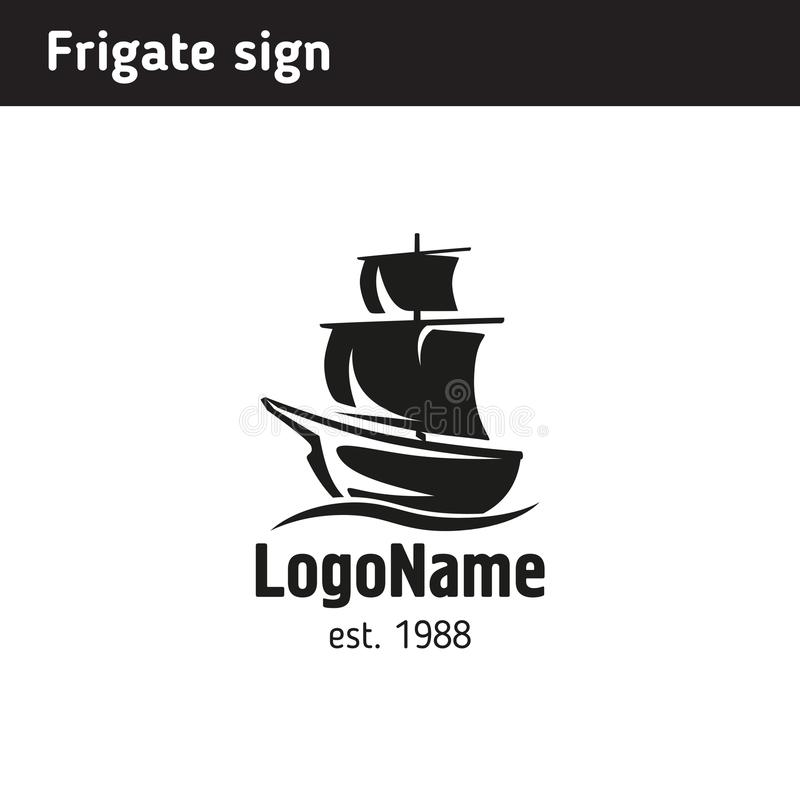 Logo in the form of a frigate, in retro style. In a frame and with ribbons stock illustration