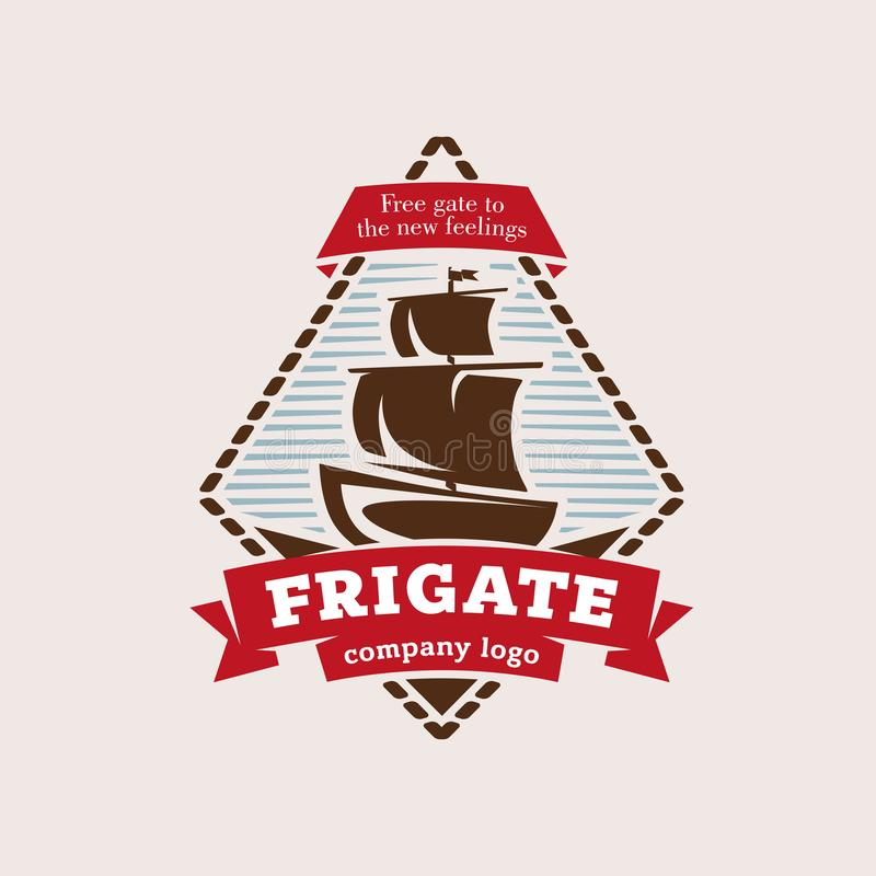 Logo in the form of a frigate, in retro style. In a frame and with ribbons vector illustration