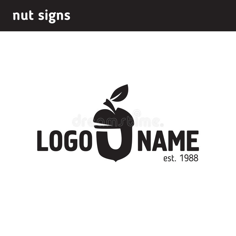The logo in the form of a nut. Can be used as a letter u stock illustration