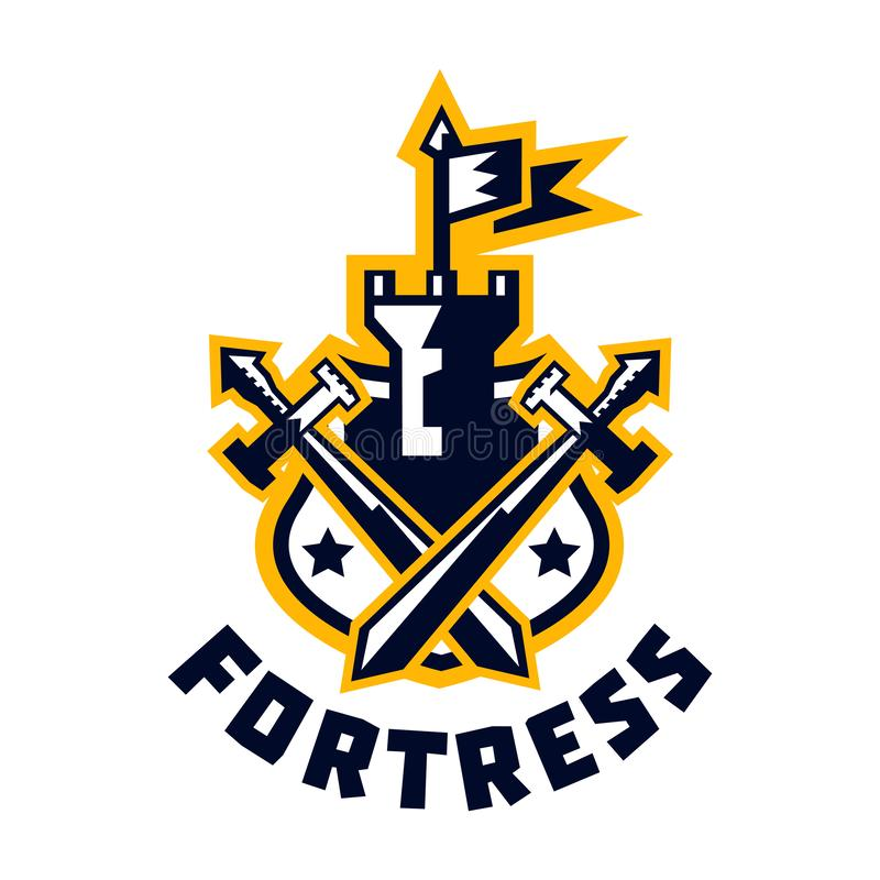 Logo fortress. Castle and flag, swords cross located on the shield. Sprockets, wreath. The emblem on the Middle Ages and vector illustration