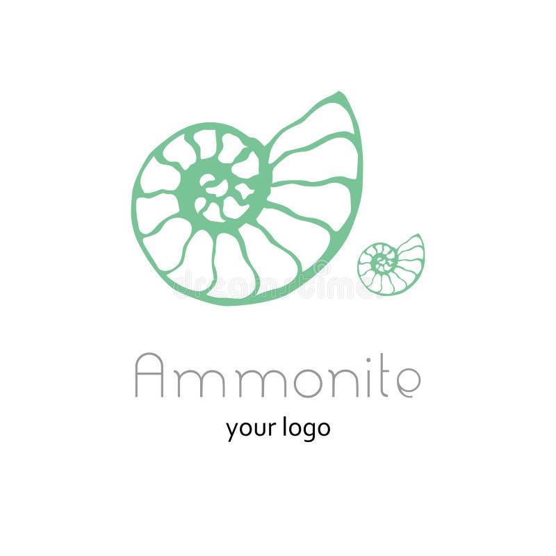 Logo fossile di vettore della conchiglia di nautilus dell'ammonite Illustrazione disegnata a mano per il salone della stazione te illustrazione di stock