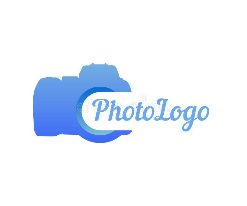 Logo fotografii kamera w błękitnym kolorze ilustracja wektor