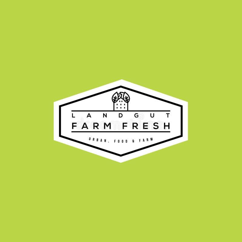 Logo frais de vecteur de ferme Bio conception de label de nourriture illustration libre de droits