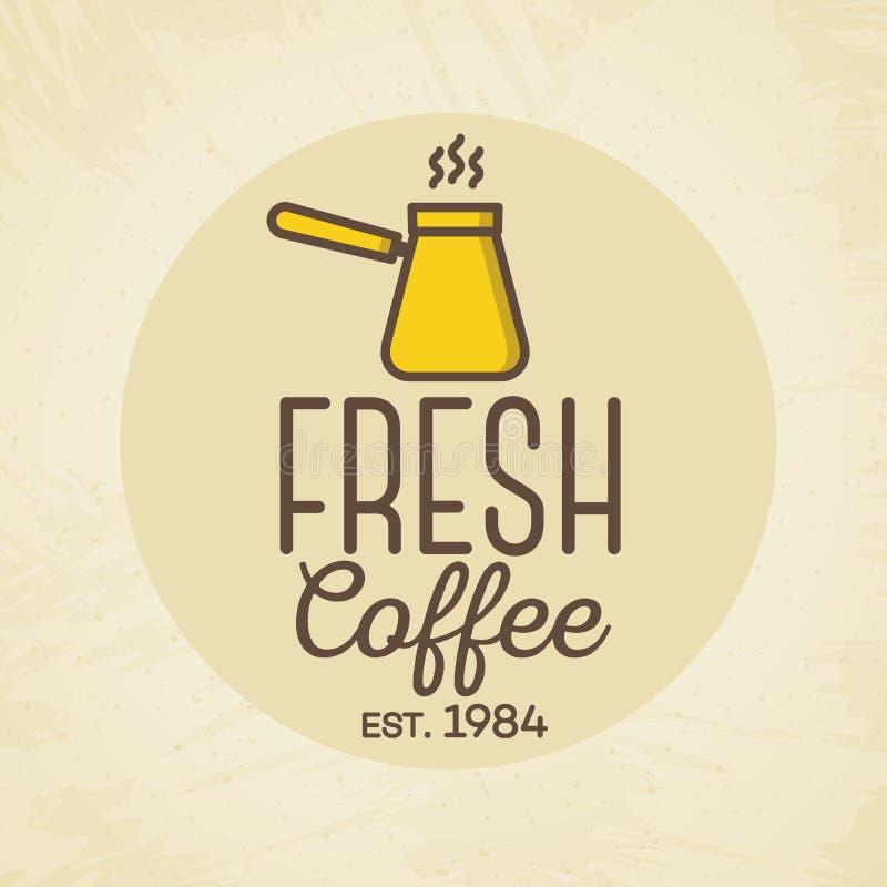 Logo fresco del caffè con stile di colore della tazza isolato su fondo per il caffè, caffetteria, ristorante illustrazione di stock