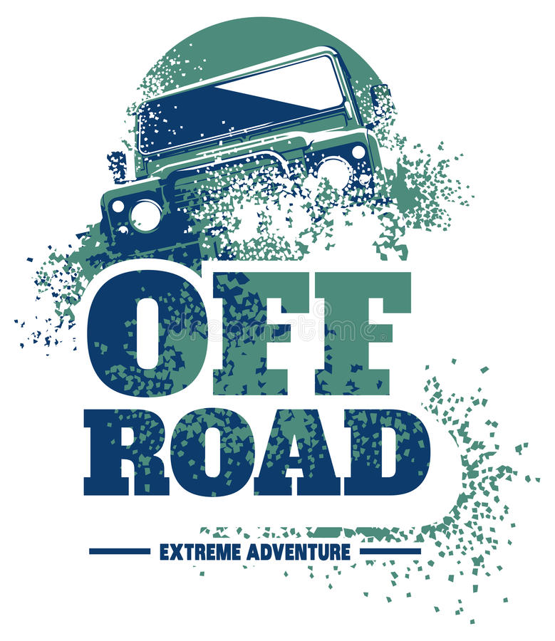Logo fuori strada dell'automobile, suv di safari, fuoristrada di spedizione illustrazione di stock