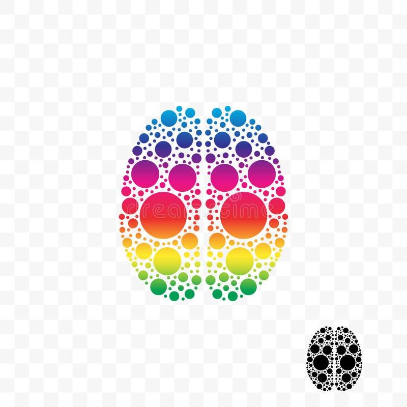 Logo futé de vecteur d'idée d'esprit de logique de cerveau illustration de vecteur
