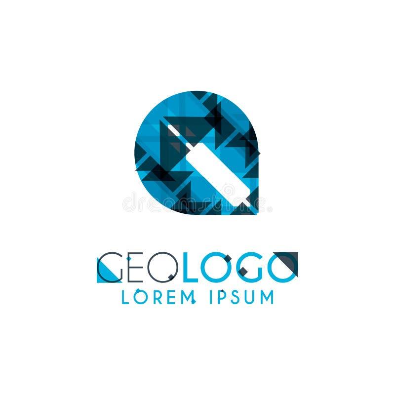 logo géométrique avec bleu-clair et gris empilé pour la conception 6 5 illustration libre de droits
