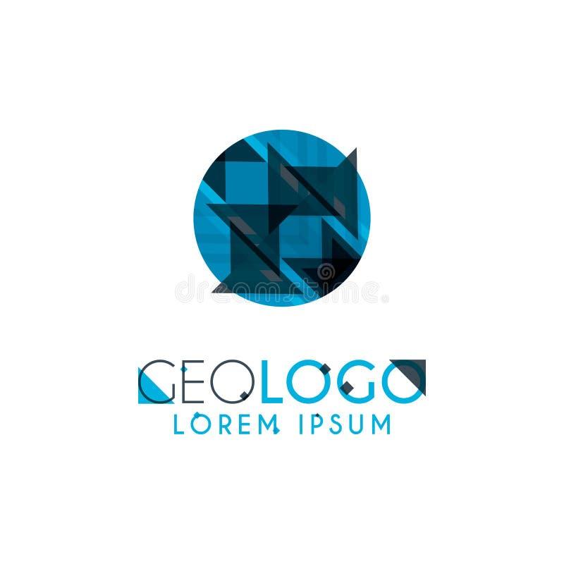 logo géométrique avec bleu-clair et gris empilé pour la conception 5 9 illustration libre de droits
