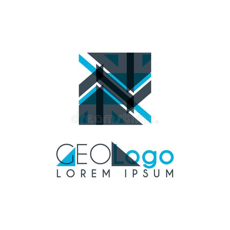 logo géométrique avec bleu-clair et gris empilé pour la conception 1 2 illustration de vecteur