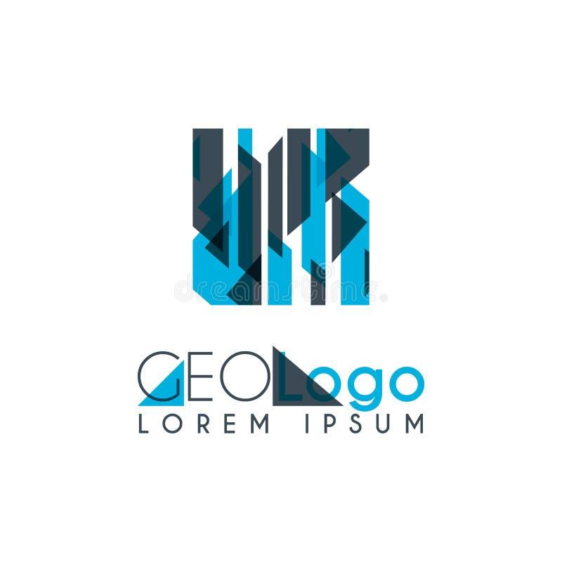 logo géométrique avec bleu-clair et gris empilé pour la conception 1 5 illustration libre de droits