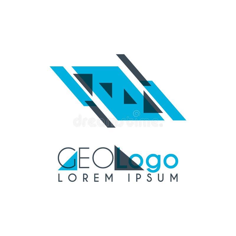 logo géométrique avec bleu-clair et gris empilé pour la conception 0 7 illustration stock