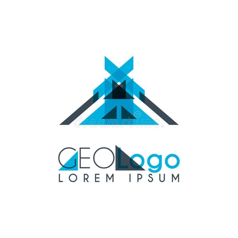 logo géométrique avec bleu-clair et gris empilé pour la conception 0 5 illustration stock
