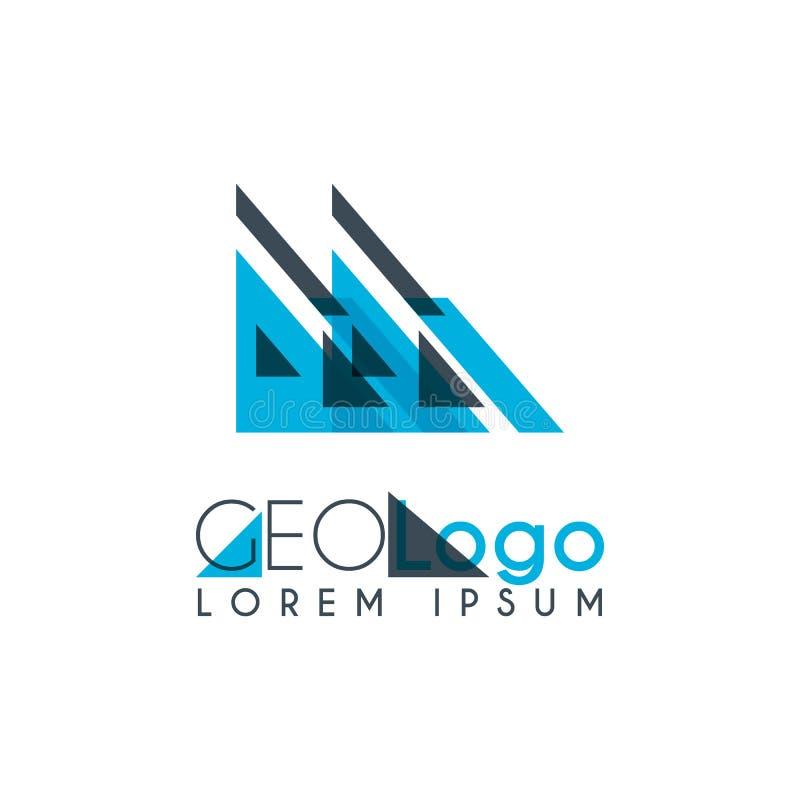 logo géométrique avec bleu-clair et gris empilé pour la conception 0 3 illustration de vecteur
