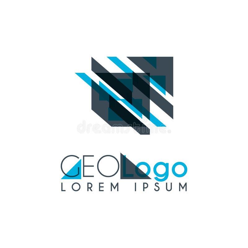 logo géométrique avec bleu-clair et gris empilé pour la conception 1 de gare illustration de vecteur