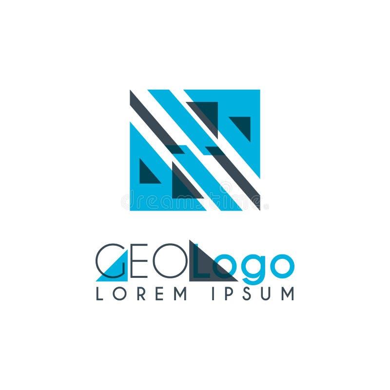 logo géométrique avec bleu-clair et gris empilé pour la conception 0 de gare illustration libre de droits