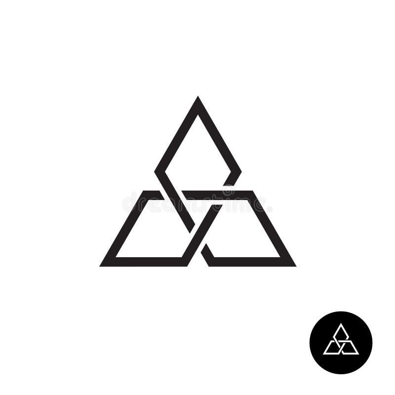 Logo géométrique d'ensemble de noeud de triangle illustration stock