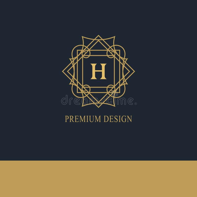 Logo géométrique de monogramme Calibre abstrait de vecteur dans la ligne style mono à la mode Emblème H de lettre Hippie de vinta illustration stock