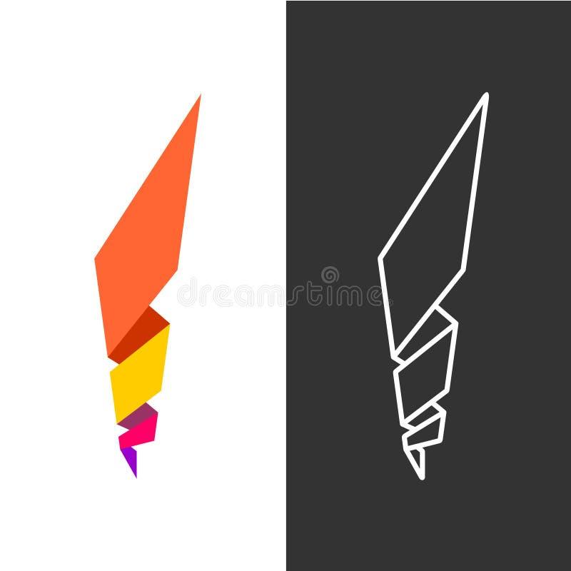 Logo gemetric astratto della fiamma del fuoco illustrazione vettoriale