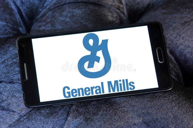 General Mills company logo. Logo of General Mills on samsung mobile. General Mills is an American multinational manufacturer and marketer of branded consumer stock photos