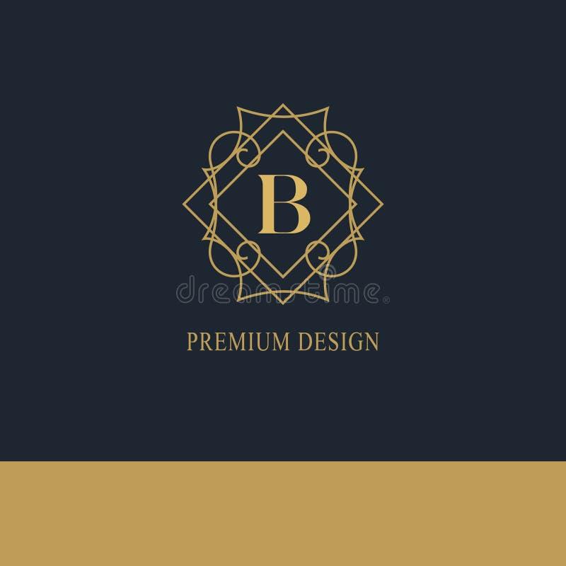 Logo geometrico del monogramma Modello astratto di vettore nella mono linea stile d'avanguardia Emblema B della lettera Pantaloni royalty illustrazione gratis