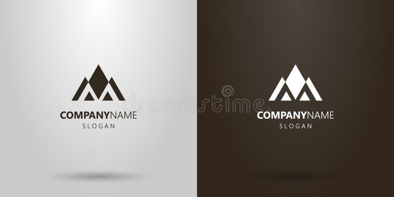 Logo geometrico di vettore semplice di un paesaggio della montagna delle figure triangolari illustrazione di stock