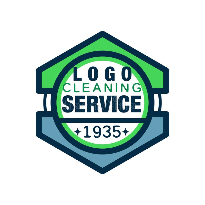 Logo geometrico per l'agenzia di pulizia dell'ufficio e della casa Servizi di qualità premio Linea icona di stile con il material illustrazione di stock