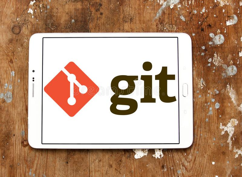 Git software logo. Logo of Git software on samsung tablet. Git is a version control system for tracking changes in computer files and coordinating work on those stock photography