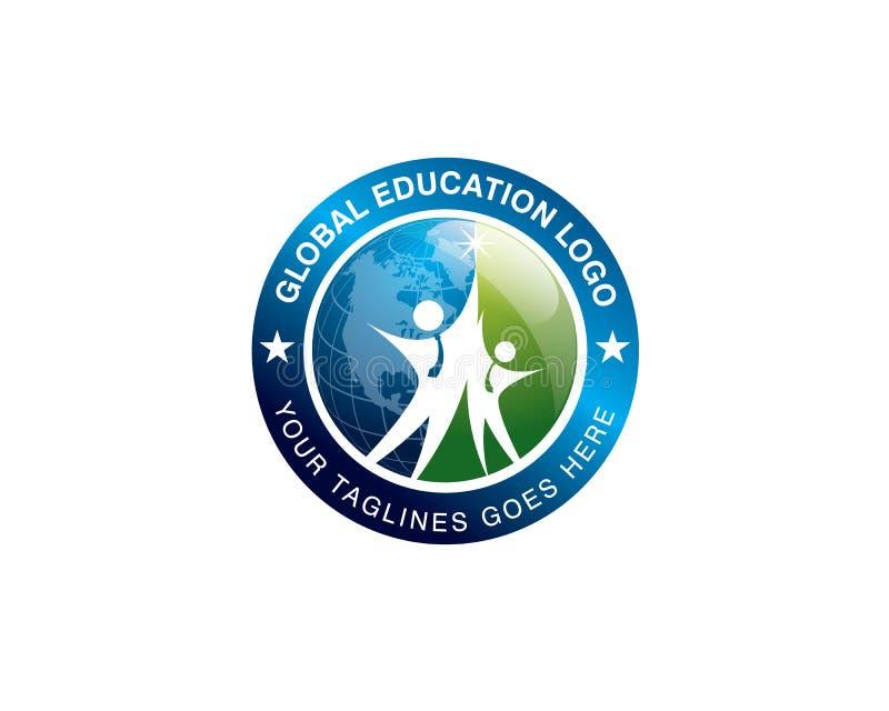 Logo globale di istruzione con lo studente due che salta davanti al globo illustrazione di stock