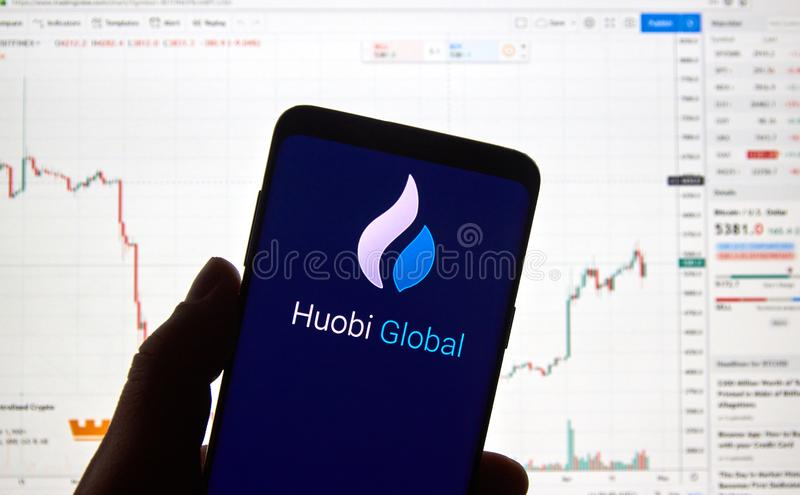 Logo globale di scambio di cryptocurrency di Huobi immagine stock